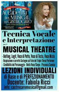 Locandina LEZIONI INDIVIDUALI TECNICA VOCALE e INTERPRETAZIONE MUSICAL THEATRE