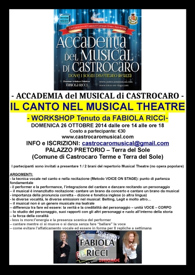 WORKSHOP CANTARE IL MUSICAL - FOTO