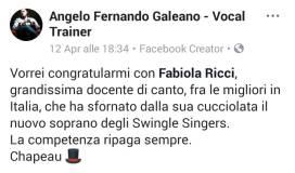 Foto Complimenti ANGELO FERNANDO GALEANO per FEDERICA nei SWINGLES