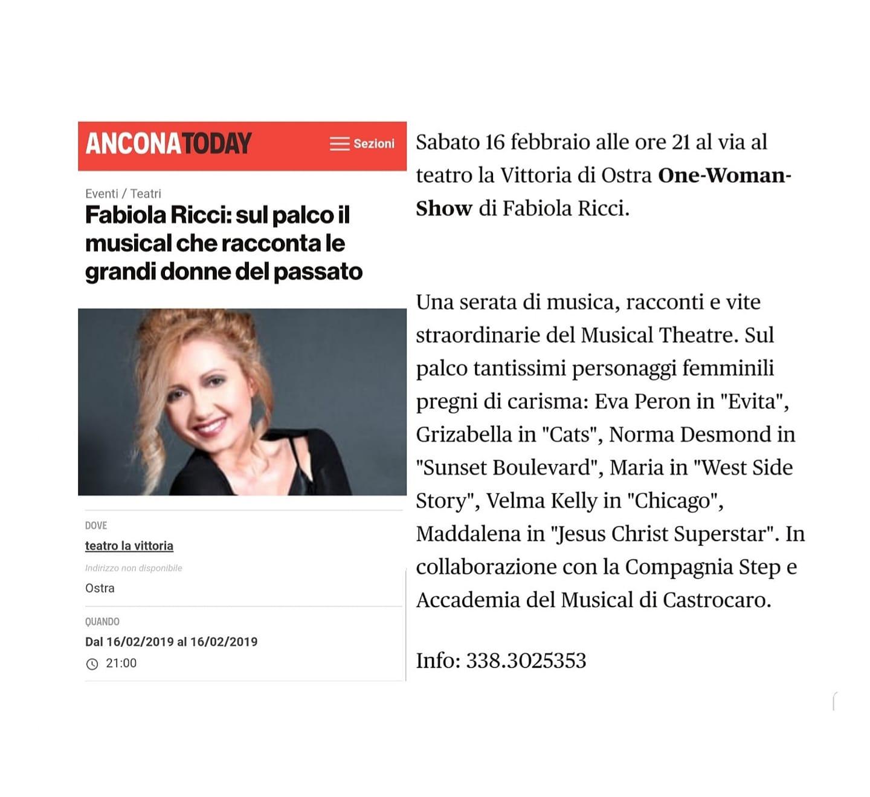 Foto ANCONA TODAY - Articolo su ALL THAT MUSICAL - Febbraio 2019